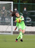 Goalkeeper Louise Van Den Bergh (1) of OHL  in action during a female soccer game between Oud Heverlee Leuven and AA Gent Ladies on the 9 th matchday of play off 1 in the 2020 - 2021 season of Belgian Womens Super League , saturday 22 nd of May 2021  in Heverlee , Belgium . PHOTO SPORTPIX.BE   SPP   SEVIL OKTEM