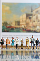 """BNPS.co.uk (01202 558833)<br /> Pic: ZacharyCulpin/BNPS<br /> <br /> Pictured: The Corgi Icon Figures that feature in the sought-after Bond sale. From left, Q, Drax, Moneypenny,  Sean Connery as 007, Blofeld, a safari suited Roger Moore as 007, Jaws, and Odd Job. <br /> <br /> An exact replica of the secret weapons case used by Sean Connery's 007 in From Russia With Love has emerged for sale for £14,000. <br /> <br /> The black attache case is one of only 100 models ever produced and has been described by experts as the """"holy grail"""" of James Bond memorabilia. <br /> <br /> The replica is to be sold alongside dozens of sought-after Bond items, including a set of 21 hand painted Corgi model figures, at Ewbank's Auctions of Woking, Surrey."""