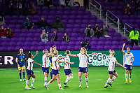 ORLANDO, FL - JANUARY 18: Samantha Mewis #3 of the USWNT celebrates her goal during a game between Colombia and USWNT at Exploria Stadium on January 18, 2021 in Orlando, Florida.