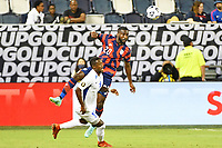 KANSAS CITY, KS - JULY 15: Shaq Moore #20 of the United States heads the ball during a game between Martinique and USMNT at Children's Mercy Park on July 15, 2021 in Kansas City, Kansas.