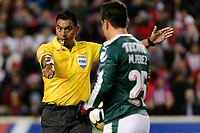 Harrison, NJ - Tuesday April 10, 2018: Michael Pérez, Walter Lopez during leg two of a  CONCACAF Champions League semi-final match between the New York Red Bulls and C. D. Guadalajara at Red Bull Arena. C. D. Guadalajara defeated the New York Red Bulls 0-0 (1-0 on aggregate).