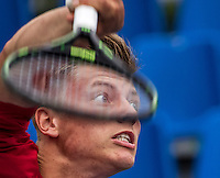 Moscow, Russia, 14 th July, 2016, Tennis,  Davis Cup Russia-Netherlands, Dutch team practise, Tim van Rijthoven (NED) serves<br /> Photo: Henk Koster/tennisimages.com