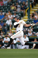 Bradenton Marauders shortstop JaCoby Jones (10) at bat during a game against the Jupiter Hammerheads on April 18, 2015 at McKechnie Field in Bradenton, Florida.  Bradenton defeated Jupiter 4-1.  (Mike Janes/Four Seam Images)