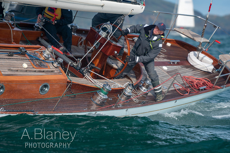 When you've the longest boat in the fleet, helming on Stephen O'Flaherty's Spirit 54 Soufriere requires concentration and some athletics………Photo: Annraoi Blaney