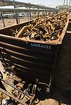Scrap metal recycling in railroad car