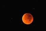 Red moon during totality of a lunar eclipse in Wyoming.