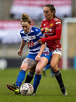 7th February 2021; Leigh Sports Village, Lancashire, England; Women's English Super League, Manchester United Women versus Reading Women; Rachel Rowe of Reading under pressure from Katie Zelem of Manchester United Women