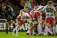 Yann Lesgourgues of Biarritz Olympique passes during the Heineken Cup match between Harlequins and Biarritz Olympique Pays Basque at the Twickenham Stoop on Saturday 13th October 2012 (Photo by Rob Munro)