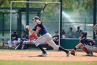Infielder Travis Matter (78) of the Atlanta Braves farm system in a Minor League Spring Training intrasquad game on Wednesday, March 18, 2015, at the ESPN Wide World of Sports Complex in Lake Buena Vista, Florida. The catcher is Chris O'Dowd. (Tom Priddy/Four Seam Images)