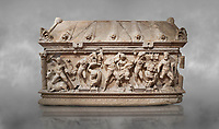 Roman relief sculpted Herakles (Hercules)  sarcophagus, 2nd century AD, Perge, inv 1,11,81-1.3.99-2.3.99.. Antalya Archaeology Museum, Turkey
