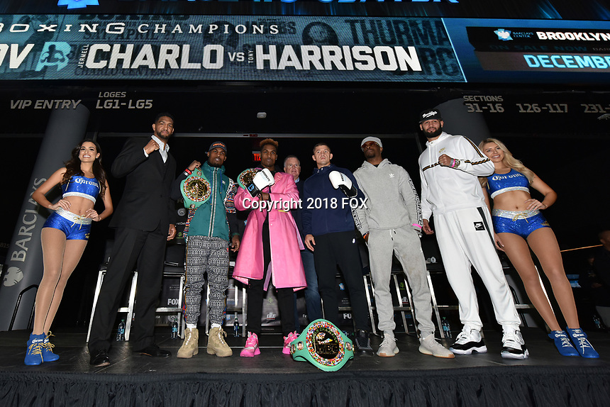 BROOKLYN, NY - DECEMBER 20: (L-R) Boxers Dominc Breazeale, Jermell Charlo, Jermall Charlo, Matt Korobov, Tony Harrison and Carlos Negorn on stage as they attend the Premier Boxing Champions press conference for the December 22 Fox PBC Fight Night at the Barclay Center on December 20, 2018 in Brooklyn, New York. (Photo by Anthony Behar/Fox Sports/PictureGroup)