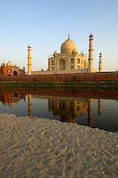 The Taj Mahal view from the back with the river and reflections