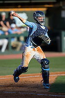 North Carolina Tar Heels catcher Cody Roberts (11) makes a throw to first base against the Kentucky Wildcats at Boshmer Stadium on February 17, 2017 in Chapel Hill, North Carolina.  The Tar Heels defeated the Wildcats 3-1.  (Brian Westerholt/Four Seam Images)