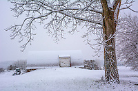 Snow blankets the fields, barn, beehives, and grounds of the Braun Farm in Westerville OH