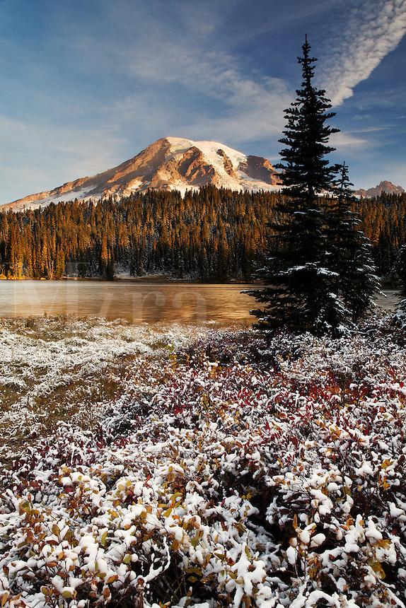 Mount Rainier and snow dusted Reflection Lakes, Mount Rainier National Park, Washington, USA