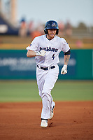 Pensacola Blue Wahoos Tanner English (4) rounds the bases after hitting a home runduring a Southern League game against the Biloxi Shuckers on May 3, 2019 at Admiral Fetterman Field in Pensacola, Florida.  Pensacola defeated Biloxi 10-8.  (Mike Janes/Four Seam Images)