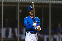 AZL Cubs 2 shortstop Miguel Pabon (13) at bat during an Arizona League game against the AZL Indians 2 at Sloan Park on August 2, 2018 in Mesa, Arizona. The AZL Indians 2 defeated the AZL Cubs 2 by a score of 9-8. (Zachary Lucy/Four Seam Images)