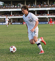 Andrew Oliver (16) of the USA carries the ball towards the goal during the group stage of the CONCACAF Men's Under 17 Championship at Jarrett Park in Montego Bay, Jamaica. The USA defeated Panama, 1-0.