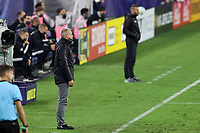 NASHVILLE, TN - SEPTEMBER 23: Head coach Gary Smith of Nashville SC watches from the sideline during a game between D.C. United and Nashville SC at Nissan Stadium on September 23, 2020 in Nashville, Tennessee.