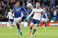 (L-R) Josh Murphy of Cardiff City and Tom Clarke of Preston North End in action during the Sky Bet Championship match between Cardiff City and Preston North End at the Cardiff City Stadium, Wales, UK. Saturday 21 December 2019