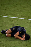 Carlos Vela of Los Angeles FC (USA) lies on the field after being tackled by Sebastian Caceres of Club America (MEX) during their CONCACAF Champions League Semi Finals match at the Orlando's Exploria Stadium on 19 December 2020, in Florida, USA. Photo by Victor Fraile / Power Sport Images