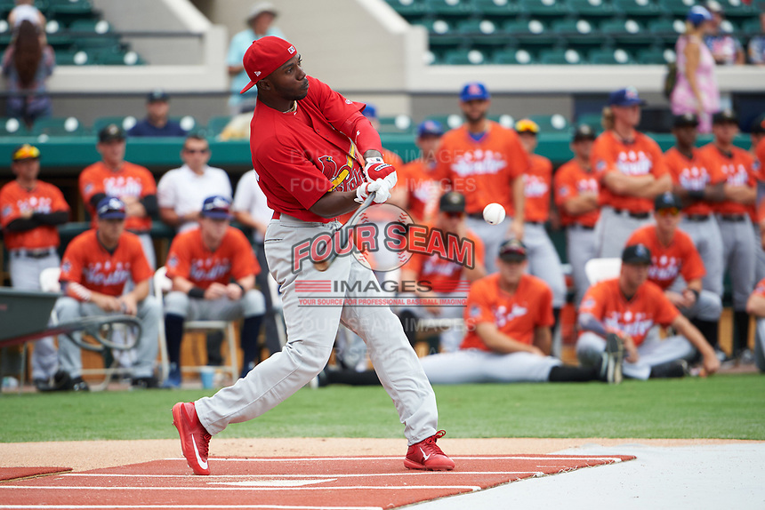 Palm Beach Cardinals Randy Arozarena during the home run derby before the Florida State League All-Star Game on June 17, 2017 at Joker Marchant Stadium in Lakeland, Florida.  Arozarena won the home run derby with five home runs after the finals were called due to inclement weather.  FSL North All-Stars  defeated the FSL South All-Stars  5-2.  (Mike Janes/Four Seam Images)