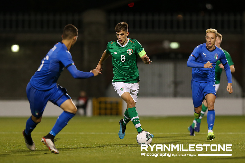 EVENT:<br /> UEFA European U21 Championship Qualifier Group 1 Republic of Ireland v Italy<br /> Thursday 10th October 2019,<br /> Tallaght Stadium, Dublin<br /> <br /> CAPTION:<br /> Jayson Molumby of Republic of Ireland in action against Alessandro Bastoni of Italy<br /> <br /> Photo By: Michael P Ryan