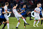 Bayern Munich Forward Milos Pantovic (L) trips up with FC Internazionale Midfielder Geoffrey Kondogbia (R) during the International Champions Cup match between FC Bayern and FC Internazionale at National Stadium on July 27, 2017 in Singapore. Photo by Marcio Rodrigo Machado / Power Sport Images