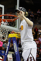 BERKELEY, CA - MARCH 30: Lindy La Rocque cuts down the net following Stanford's 74-53 win against the Iowa State Cyclones on March 30, 2009 at Haas Pavilion in Berkeley, California.