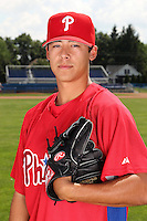 Williamsport Crosscutters pitcher Garrett Claypool (25) poses for a photo in Phillies gear before a game vs the Batavia Muckdogs at Dwyer Stadium in Batavia, New York July 26, 2010.   Batavia defeated Williamsport 3-2.  Photo By Mike Janes/Four Seam Images