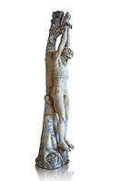 The Flaying of Marsyas - a 1st or 2nd century AD Roman sculpture from Italy. In the contest between Apollo and Marsyas, the terms stated that the winner could treat the defeated party any way he wanted. Since the contest was judged by the Muses,[6] Marsyas naturally lost and was flayed alive in a cave near Celaenae for his hubris to challenge a god. Apollo then nailed Marsyas' skin to a pine tree,[7] near Lake Aulocrene (Karakuyu Gölü in Turkey).  Inv No. MR267 (Usual No Ma 542), Louvre Museum, Paris.