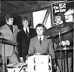 Bee Gees 1967 Barry Gibb, Robin Gibb, Colin Peterson and Maurice Gibb in London at time of release of New York Mining Disaster..© Chris Walter..