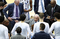 CHAPEL HILL, NC - FEBRUARY 1: Head coach Roy Williams of the University of North Carolina talks to his team during a timeout during a game between Boston College and North Carolina at Dean E. Smith Center on February 1, 2020 in Chapel Hill, North Carolina.