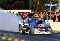 Feb 7, 2014; Pomona, CA, USA; NHRA pro stock driver Vincent Nobile during qualifying for the Winternationals at Auto Club Raceway at Pomona. Mandatory Credit: Mark J. Rebilas-