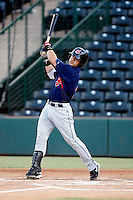 Tony Wolters - AZL Indians. Wolters, the Indians 3rd round draft choice, hits an infield single in his first professional at bat against the Angels at Diablo Stadium, Tempe, AZ - 08/20/2010..Photo by:  Bill Mitchell/Four Seam Images..