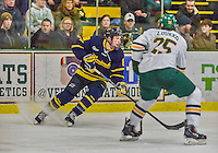21 February 2015:  Merrimack College Warrior Forward Brian Christie, a Junior from West Chester, PA, in third period action against the University of Vermont Catamounts at Gutterson Fieldhouse in Burlington, Vermont. The teams played to a scoreless tie as the Cats wrapped up their Hockey East regular home season. Mandatory Credit: Ed Wolfstein Photo *** RAW (NEF) Image File Available ***