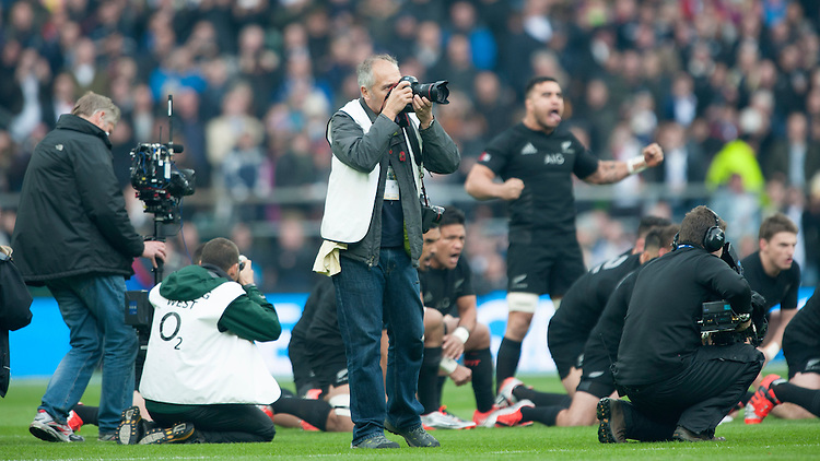 Liam Messam of New Zealand leads the Haka ahead of the QBE International match between England and New Zealand at Twickenham Stadium on Saturday 8th November 2014 (Photo by Rob Munro)