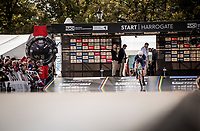 Hugo Page (FRA) off the start ramp<br /> at the Men Junior Individual Time Trial<br /> <br /> 2019 Road World Championships Yorkshire (GBR)<br /> <br /> ©kramon