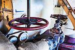 Valves and steam pipes, Steam geneator,steam turbine, Seattle, WA, Georgetown Steam Plant, a National Historic Landmark in Seattle, WA USA