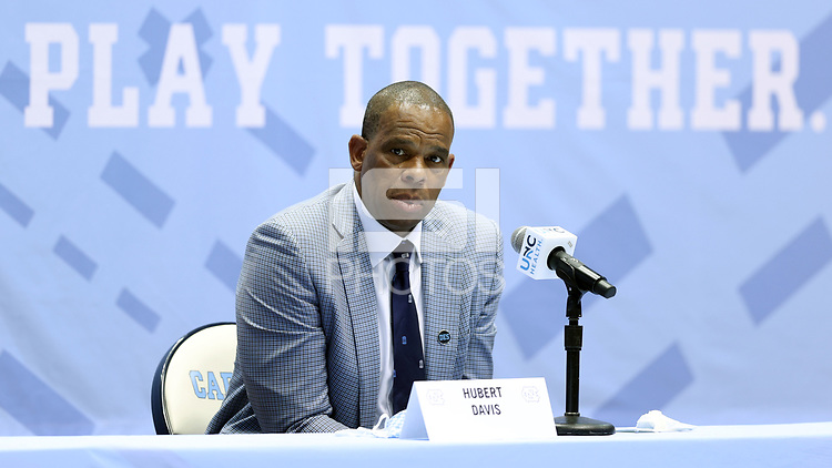 CHAPEL HILL, NC - APRIL 6: UNC men's basketball head coach Hubert Davis during his introductory press conference at Dean E. Smith Center on April 6, 2021 in Chapel Hill, North Carolina.