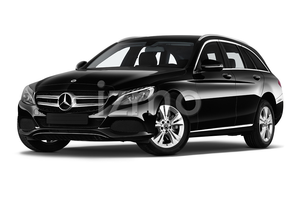 Stock pictures of low aggressive front three quarter view of a 2018 Mercedes Benz C Class Base 5 Door Wagon