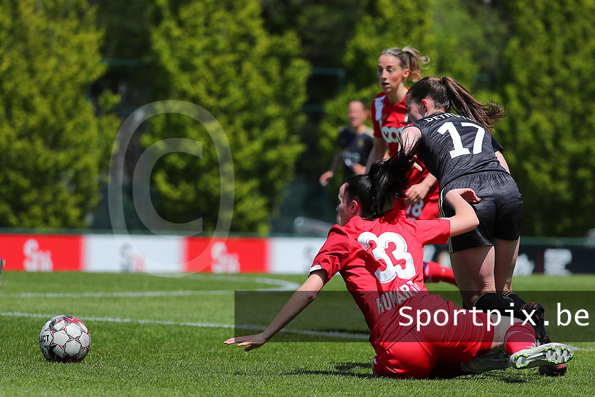 Loredana Humartus (33) of Standard and Marie Detruyer (17) of OHL battle for the ball during a female soccer game between Standard Femina de Liege and Oud Heverlee Leuven on the 10th and last matchday in play off 1 of the 2020 - 2021 season of Belgian Scooore Womens Super League , saturday 29 th of May 2021  in Angleur , Belgium . PHOTO SPORTPIX.BE   SPP   SEVIL OKTEM