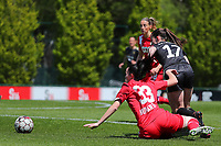 Loredana Humartus (33) of Standard and Marie Detruyer (17) of OHL battle for the ball during a female soccer game between Standard Femina de Liege and Oud Heverlee Leuven on the 10th and last matchday in play off 1 of the 2020 - 2021 season of Belgian Scooore Womens Super League , saturday 29 th of May 2021  in Angleur , Belgium . PHOTO SPORTPIX.BE | SPP | SEVIL OKTEM