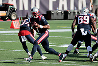 27th September 2020, Foxborough, New England, USA;  New England Patriots quarterback Cam Newton (1) drops back to pass during the game between the New England Patriots and the Las Vegas Raiders