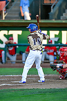 Brandon Montgomery (18) of the Ogden Raptors at bat against the Orem Owlz in Pioneer League action at Lindquist Field on July 29, 2016 in Ogden, Utah. Orem defeated Ogden 8-5. (Stephen Smith/Four Seam Images)