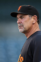 San Francisco Giants Manager Bruce Bochy #15 before a game against the Los Angeles Angels at Angel Stadium on June 18, 2012 in Anaheim, California. San Francisco defeated Los Angeles 5-3. (Larry Goren/Four Seam Images)