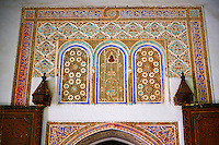 Berber arabesque Mocarabe plasterwork door surrounds.The Petite Court, Bahia Palace, Marrakesh, Morroco
