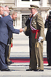 01.10.2012. The Spanish Royal Family, King Juan Carlos, Queen Sofia, Prince Felipe, Princess Letizia and Princess Elena attend the imposition of collective Distinguished Cross San Fernando Al Banner Armored Cavalry Regiment ´Alcántara´ No. 10 in the Royal Palace in Madrid, Spain. In the imageKing Juan Carlos of Spain (Alterphotos/Marta Gonzalez)