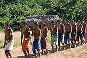 Pará State, Brazil. Aldeia Pukararankre (Kayapo). The warriors dancing.