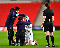 13th April 2021; Bet365 Stadium, Stoke, England; Lauren Hemp  of England receives medical treatment during the womens International Friendly between England and Canada